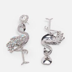 Sparkly flamingo earrings | Zara